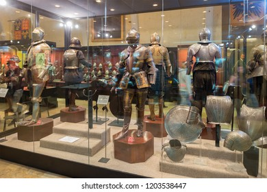 Suits of armour at the Palace Armoury. Grandmaster's Palace in Valletta, Malta. 13 March 2018