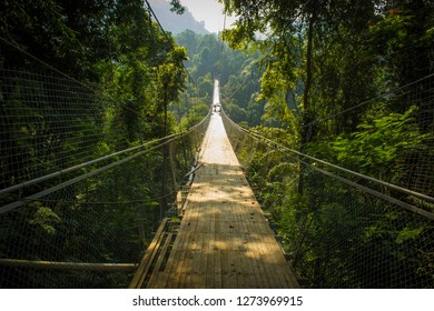 Sukabumi, Indonesia - July 11 2018: Situ gunung suspension bridge, longest suspension bridge in Indonesia