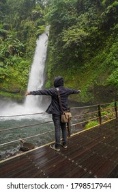 Sukabumi, West Java / Indonesia - February 16 2019, Enjoy the beauty of the Sawer Waterfall in Sukabumi, West Java