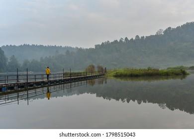 Sukabumi, West java / Indonesia - September 23 2018, Small bridge on the lake