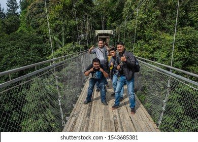 Sukabumi,west java/Indonesia - February 24, 2019 : Situ gunung suspension bridge is the longest in Indonesia and one of newest tourist attraction in gede pangrango mount national park