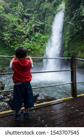 Sukabumi,west java/Indonesia - February 24, 2019 : Curug sawer or sawer waterfall of Situ gunung suspension bridge tourist attraction in gede pangrango mount national park