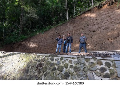 Sukabumi,west java/Indonesia - February 24, 2019 : Domestic tourists visit and enjoy Situ gunung suspension bridge in gede pangrango mount national park