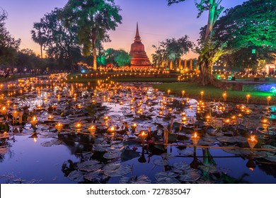 Sukhothai Co Lamplighter Loy Kratong Festival at The Sukhothai Historical Park covers the ruins of Sukhothai, in what is now Northern Thailand.