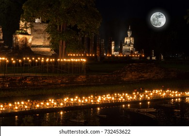Sukhothai Co Lamplighter Loy Kratong Festival at The Sukhothai Historical Park covers the ruins of Sukhothai, in what is now Northern Thailand. With full moon