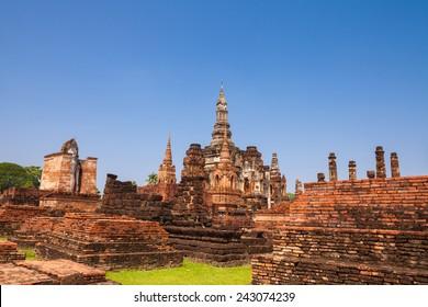 Sukhothai historical park. Buddhist temple ruins in Sukhothai historical park,Thailand