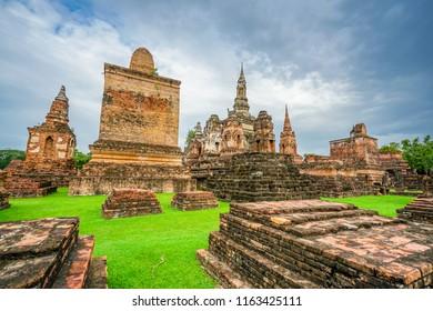 The Sukhothai Historical Park contains the ruins of old Sukhothai, the capital of the Sukhothai Kingdom, Thailand