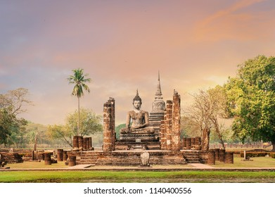 Sukhothai historical park, the old town of Thailand in 800 year ago,UNESCO World Heritage Site in Thailand