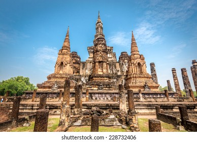 Sukhothai historical park, the old town of Thailand,Mahatat Temple