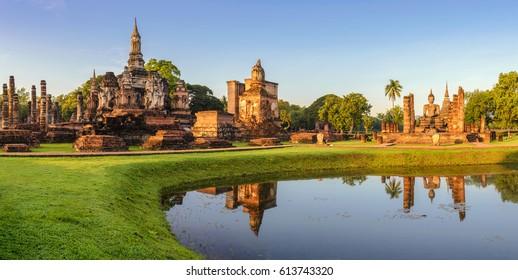 Sukhothai Historical Park panorama, Sukhothai, Thailand