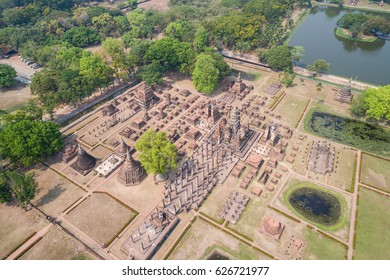 Sukhothai Historical Park in Sukhothai province, Thailand. Aerial view from flying drone.
