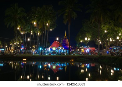 Sukhothai - November 24 ,2018: The light color Sukhothai Co Lamplighter Loy Kratong Festival at The Sukhothai Historical Park covers the ruins of Sukhothai, Thailand