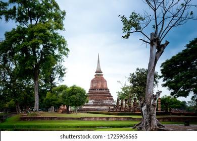 Sukhothai, Pagoda at Wat Chana Songkhram temple,One of the famous temple in Sukhothai,Temple in Sukhothai Historical Park, Sukhothai Province,Thailand. UNESCO world heritage