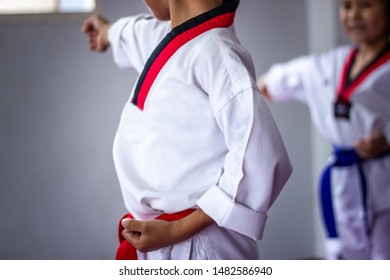 Sukhothai Thailand 20 July 2019 Tech Waldo, children. The movement is ready to fight. Taekwondo karata