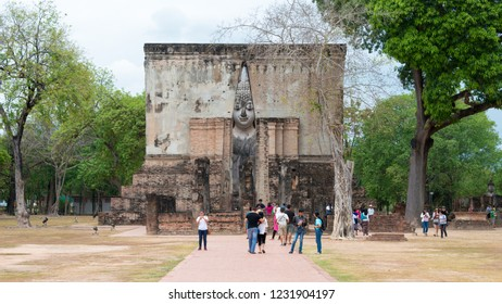 Sukhothai, Thailand - Apr 07 2018: Wat Sri Chum in Sukhothai Historical Park, Sukhothai, Thailand. It is part of the World Heritage Site- Historic Town of Sukhothai and Associated Historic Towns.