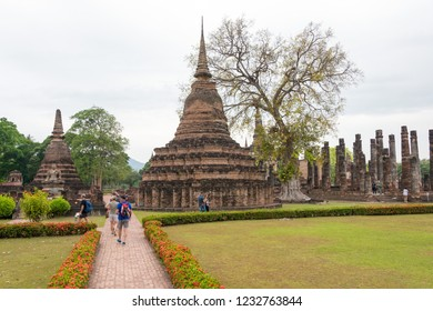 Sukhothai, Thailand - Apr 07 2018: Sukhothai Historical Park in Sukhothai, Thailand. It is part of the World Heritage Site - Historic Town of Sukhothai and Associated Historic Towns.
