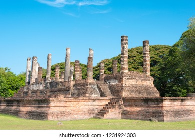 Sukhothai, Thailand - Apr 08 2018: Wat Mai in Sukhothai Historical Park, Sukhothai, Thailand. It is part of the World Heritage Site - Historic Town of Sukhothai and Associated Historic Towns.