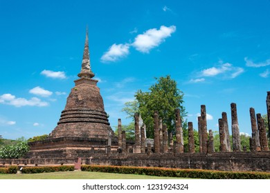 Sukhothai, Thailand - Apr 08 2018: Wat Sra Sri in Sukhothai Historical Park, Sukhothai, Thailand. It is part of the World Heritage Site - Historic Town of Sukhothai and Associated Historic Towns.
