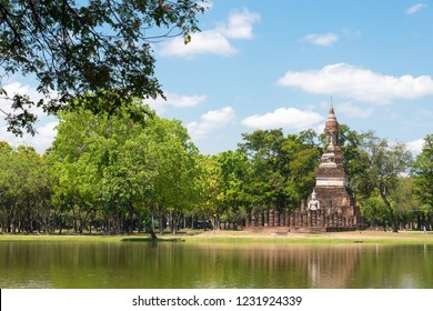 Sukhothai, Thailand - Apr 08 2018: Sukhothai Historical Park in Sukhothai, Thailand. It is part of the World Heritage Site - Historic Town of Sukhothai and Associated Historic Towns.