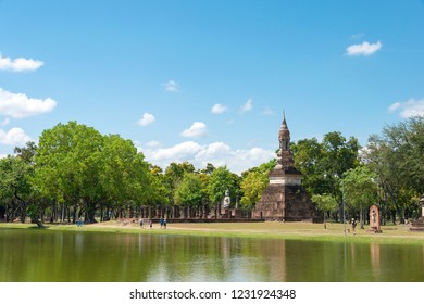 Sukhothai, Thailand - Apr 08 2018: Wat Traphang Ngoen in Sukhothai Historical Park, Sukhothai, Thailand. It is part of the World Heritage Site-Historic Town of Sukhothai and Associated Historic Towns
