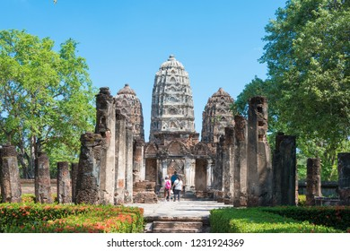 Sukhothai, Thailand - Apr 08 2018: Wat Si Sawai in Sukhothai Historical Park, Sukhothai, Thailand. It is part of the World Heritage Site - Historic Town of Sukhothai and Associated Historic Towns.