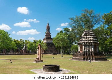 Sukhothai, Thailand - Apr 08 2018: Wat Traphang Ngoen in Sukhothai Historical Park, Sukhothai, Thailand. It is part of the World Heritage Site-Historic Town of Sukhothai and Associated Historic Towns.