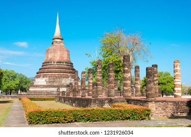 Sukhothai, Thailand - Apr 08 2018: Wat Chana Songkhram in Sukhothai Historical Park, Sukhothai, Thailand. It is part of the World Heritage Site -Historic Town of Sukhothai and Associated Historic Town
