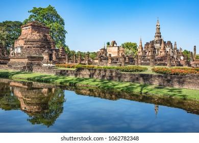 Sukhothai, Thailand- January 15 2017: Beautiful sunny day at Sukhothai Historical Park, Sukhothai, Thailand.