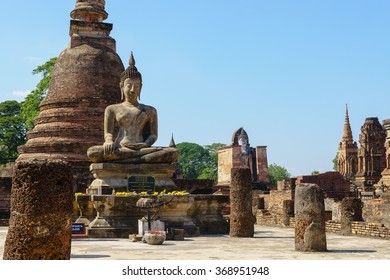SUKHOTHAI, THAILAND - January 3, 2016: Ancient Buddha Statue at Sukhothai historical park, Mahathat Temple,Thailand.