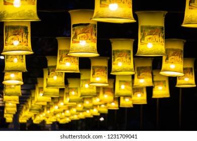 Sukhothai, Thailand - November 14, 2018 : Many traditional fabric lamps is hanged for decoration in Loi Krathong festival at Sukhothai Historical Park.