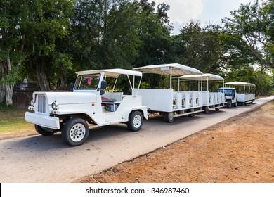 Sukhothai, Thailand -  November 26, 2015: Tourism shuttle in Si Satchanalai Historical Park, Si Satchanalai Historical Park is the UNESCO world heritage