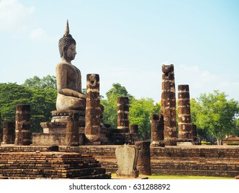 SUKHOTHAI, THAILAND - OCT15, 2016: old buddha image at Wat Mahathat, Sukhothai historical park, Sukhothai Thailand