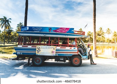 Sukhothai, Thailand - September 17, 2016 : Tourism shuttle in Sukhothai Historical Park, Sukhothai  Historical Park is the UNESCO world heritage