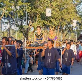 SUKHOTHAI, THAILAND-NOV 25: Loy Krathong festival in Sukhothai.People parade in Loy Krathong festival on November 25,2015 in Sukhothai, Thailand