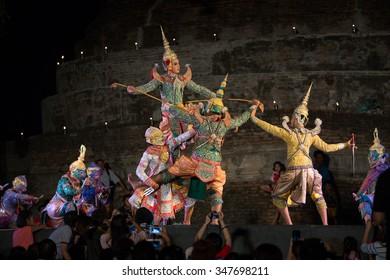 SUKHOTHAI, THAILAND-NOV 25: Show of pantomime in Loy Kratong Festival at Sukhothai Historical Park on November 25,2015 in Sukhothai, Thailand
