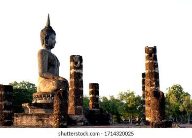 Sukhothai Wat Mahathat Buddha statues at Wat Mahathat ancient capital of Sukhothai Thailand. Sukhothai Historical Park is the UNESCO world heritage
