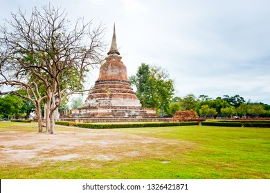 Sukhothai,Thailand - December ,10,2018 : This is the Wat Chana songkhram  temple in  Sukhothai historical park. Sukhothai, Thailand. declared as a World Heritage Site by UNESCO.
