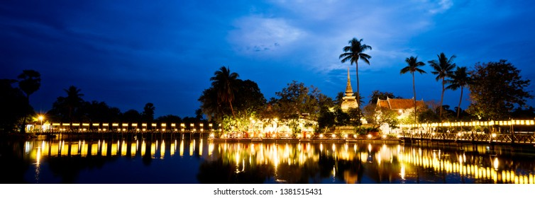 Sukhothai,Thailand - December ,10,2018 : This is the Wat tra phang thong temple in Sukhothai historical park. Sukhothai, Thailand. declared as a World Heritage Site by UNESCO.(Panoramic Photo)