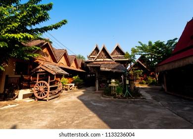 Sukhothai,Thailand - December ,11,2017 : This is a Thai house. sukhothai style Sukhothai , Thailand