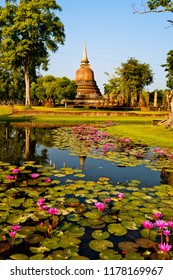 Sukhothai,Thailand - December ,11,2017 : :  Wat Chana Songkhram in  Sukhothai historical park the ancient place the capital city in the pass at Sukhothai province,Thailand.