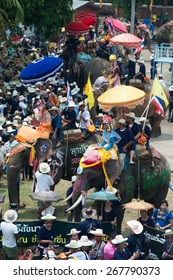 SUKHOTHAI,THAILAND-APR 7 : An ordination celebration is held at Ban Hat Sieo. and features parade of ordination in colorful costumes riding on the back of elephant on April 7,2013, Sukhothai,Thailand.