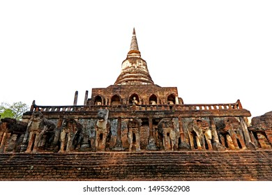 SUKHOTHAI-THAILAND-APRIL 6 : View of Si Satchanalai Historical Park Ruins of the old city in Thailand, April 6 , 2018 Sukhothai Province, Thailand.