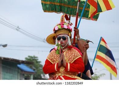 SUKHOTHAI-THAILAND-APRIL 7 : Elephant-Back Ordination Procession is annual festival of elephants parade and it carry novice monks on their backs, April 7, 2018 Sukhothai Province, Thailand
