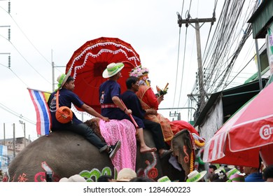 SUKHOTHAI-THAILAND-APRIL 7 : Elephant-Back Ordination Procession is annual festival of elephants parade and it carry novice monks on their backs, April 7, 2018 Sukhothai Province, Thailand