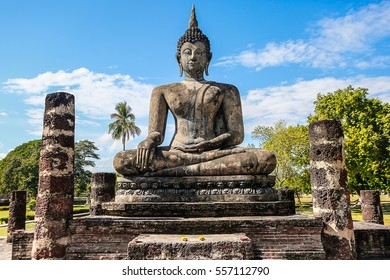 Sukhothai,Thailand,Jan 3,2017.Sukhothai Historical park has declared World Heritage Site,Each year welcome thousands of visitors to sightseeing archaeological site and ancient Buddha figures