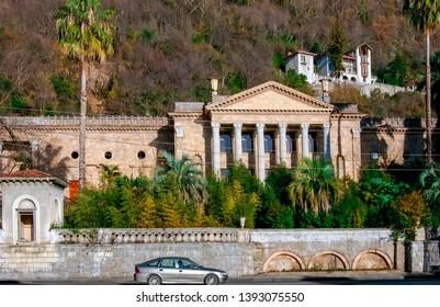 Sukhum, Abkhazia, - 03 January, 2013:  Old house with columns. Old abandoned winter theater, Gagra, Abkhazia.