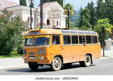 SUKHUMI, ABKHAZIA - JULY 23, 2009: Old soviet bus PAZ 672M at the city street.