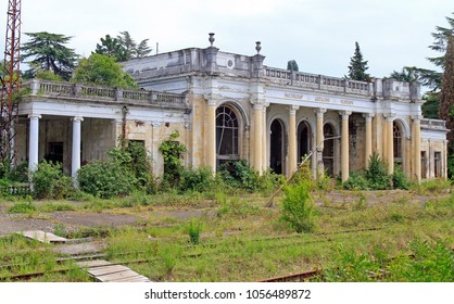 Sukhumi, Georgia - August 20, 2017: abandoned building of train station in Sukhumi, Abkhazia