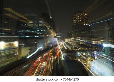 Sukhumvit Road : 13 October 2017 Zoom blur of Sukhumvit road popular place in night time, Bangkok, Thailand.