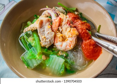 Suki in broth Mixed seafood with vermicelli and vegetables, Thai Suki.